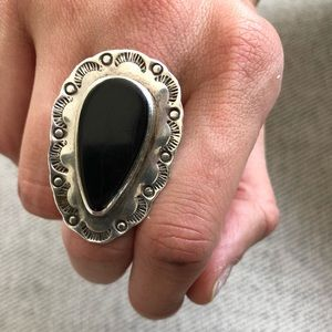 onyx and sterling silver vintage statement ring
